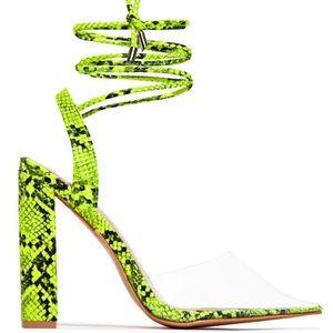 Neon Yellow Snake Print Heels